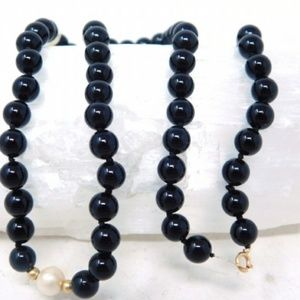 14K Onyx Bead & Cultured Pearl Necklace